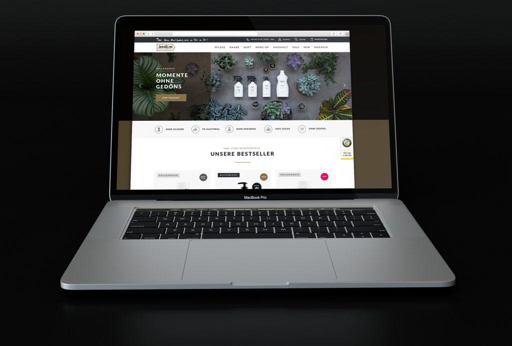 Alaventa GmbH Referenz Jean & Len Online Shop Design Startseite