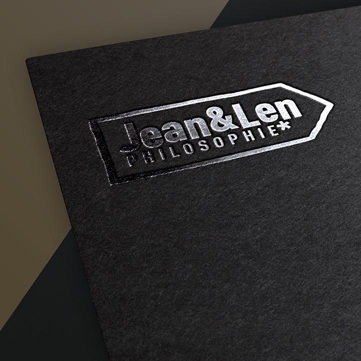 Alaventa GmbH Referenz Jean & Len Marke Logo auf dunklem Untergrund
